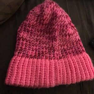 Slouchy pink knit beanie